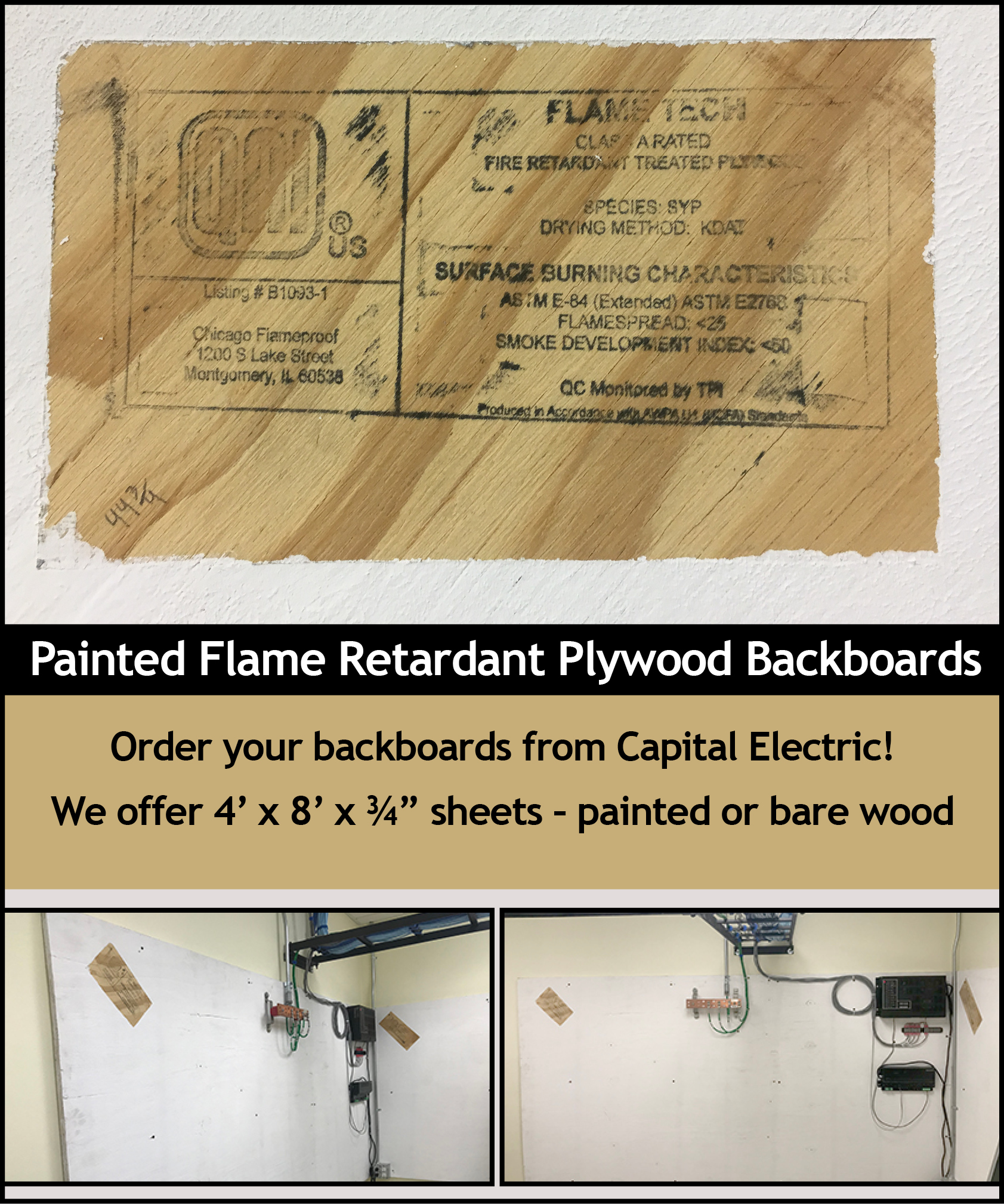 Painted Flame Retardant Plywood Backboards Capital Electric